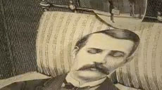 steampun illustration of a man lying in bed